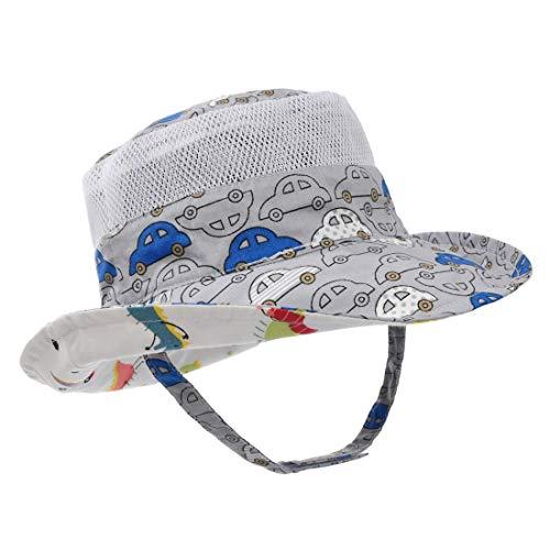 ERISO Baby Toddler Plaid Bucket Reversible Sun Protection Animal Hat ((19.7