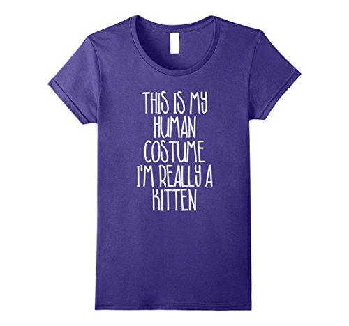 Cute Simple Last Minute Halloween Costumes (Womens Cute Simple Kitten Halloween Costume Shirt for Girls Boys XL Purple)