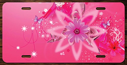KCD Cute Pink Flowers and Butterflies Vanity Front License Plate Tag Printed Full Color KCFP043 (Plates License Flower)