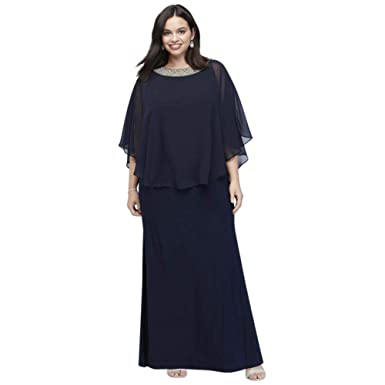 3d9aeb77 Jersey Plus Size Capelet Mother of Bride/Groom Dress with Beaded Neck Style  2328DW at Amazon Women's Clothing store: