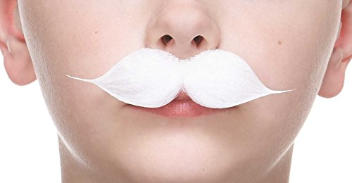 Mustaches Fake Mustache, Self Adhesive, Novelty, Small Puaro False Facial Hair, Costume Accessory for Kids, White Color ()