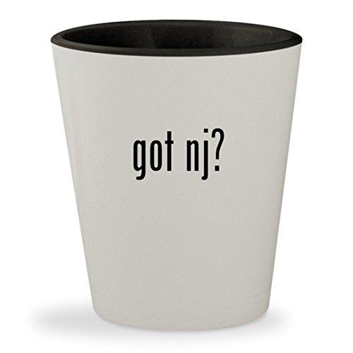 got nj? - White Outer & Black Inner Ceramic 1.5oz Shot - Flemington Glass