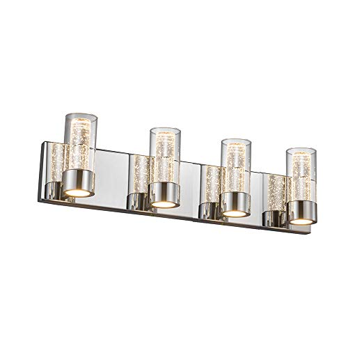 JINZO LED Vanity Lighting Fixture 4-Lights Polished Chrome Modern Bathroom Vanity Light Wall Mount Fixture Up and Down Lights with Champagne Bubble Glass Shape (Light Fixture Bubble Glass)