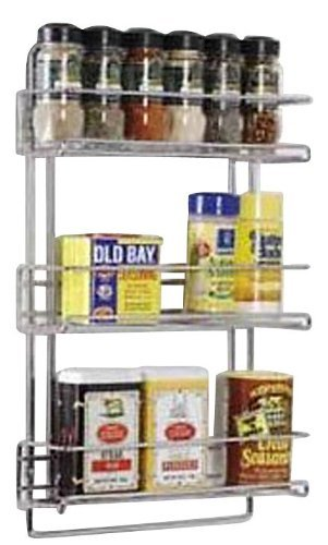 Organize It All 3-Tier Wall-Mounted Spice Rack - Chrome