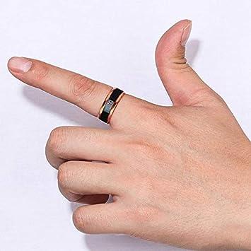 Gr/ö/ße 6 TEEPAO Temperaturmessger/ät Stimmungsringe Digitales Thermometer K/örpertemperatursensor Smart Ringe Hochzeit Paare Partnerringe passende Gr/ö/ße Titan Stahl Wellenringe f/ür Damen /& Herren