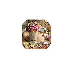 Brittany-Breanna Artificial Flower 15 Heads Autumn Spring Colors 1 Bouquet Mini Roses Plastic Flower Buds Fake Decor 73
