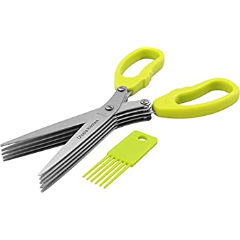 Herb Scissors - 5 Extremely Sharp Stainless Steel Blades - Multipurpose Use Kitchen & Garden Herbs Shear - With Cleaning Comb And Anti-Slip Handle - by Utopia Kitchen