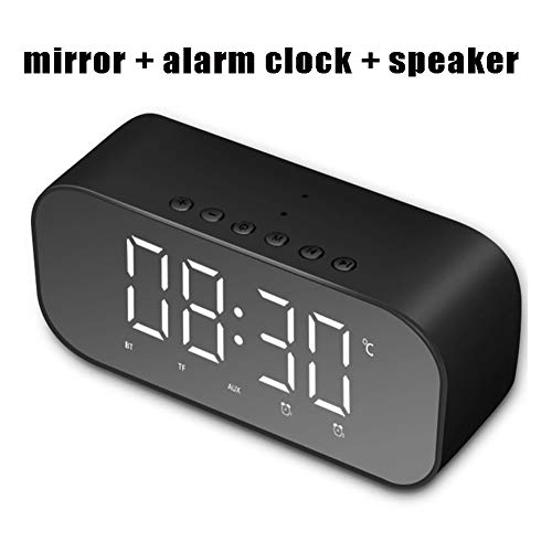 FRUZAZ Three-in-one Portable Mirror Alarm Clock Fashion Creative Multi-Function Gift TF AUX Mode Bluetooth Speaker (Alarm + Mirror + Bluetooth Speaker),Black (Creative Player Case Digital)