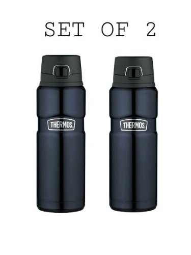 Set of Two Thermos Stainless King 24-Ounce Drink Bottle, Midnight Blue by Thermos