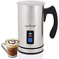 NutriChef Upgraded Dual Electric Milk Frother and Warmer...