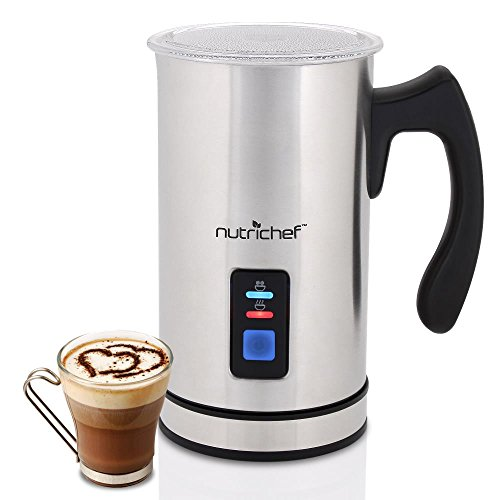Latte Milk Frother (NutriChef Upgraded Dual Electric Milk Frother and Warmer - Sleek Compact Stainless Steel Steamer w/ Automatic Power Off Function and LED Light Indicator Perfect for Foamer and Creamy Latte - PKMFR14)
