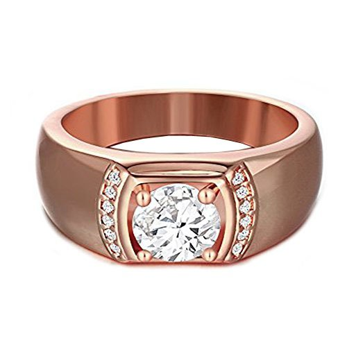Bystar Gentleman Rose Gold Plated Classic Cubic Zirconia Wide Band Rings