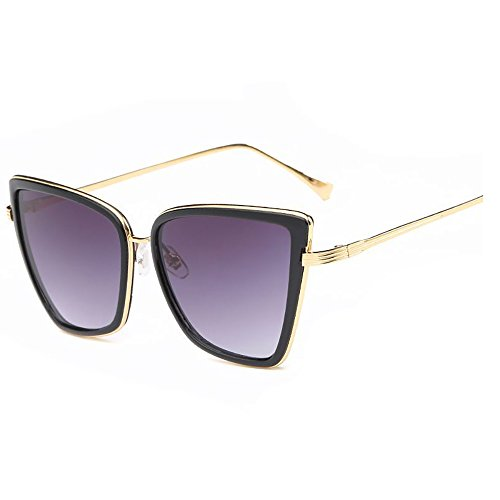 Men Women Oversized Cat Eye Sunglasses Kaimao Retro Metal Frame Sun Glasses with Case and Cloth - Black and - Running Cats Eyes