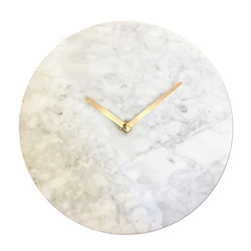 Luxury Modern Gray White Marble Wall Clock Silent Quartz Movement (Large Image)