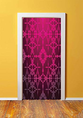 Magenta Decor 3D Door Sticker Wall Decals Mural Wallpaper,Victorian Stylized Classical Bound Ornamental Mosaic Patterns Nostalgic Design,DIY Art Home Decor Poster Decoration 30.3x78.1914,Rosewood ()