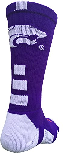 Kansas State Wildcats Baseline 2.0 Crew Socks (Purple/White, Small) (State Wildcats Kansas Socks)