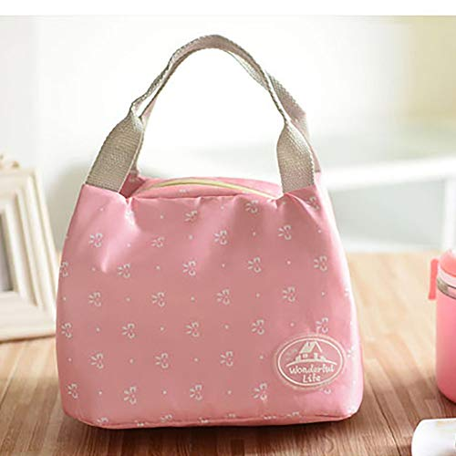- Striped Dot Portable Lunch Bag Thermal Insulated Cold keep Food Safe warm Lunch bags For Girls Women (Hot Pink)