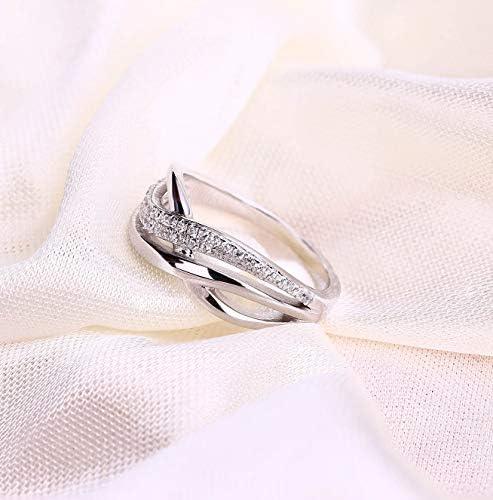YL Anello da donna in argento 925 con Zirconia anniversario Eternity
