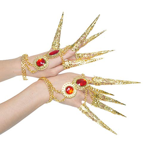 BELLYANGEL Pack of 1 Womens Belly Dance Gypsy Egyptian Indian Gold Bracelet with Finger Nails for Costumes (Gold)