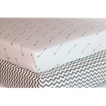 Premium Crib Sheets - 100% Organic Jersey Knit Cotton (Pack of 2) Gender Neutral Gray for Toddler and Baby: Chevron & Arrows by Bubs & Co.