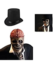 The latest skeleton biochemical mask for 2021 Halloween Skull Mask,Realistic 3D Latex Skeleton Headgear,Can cover upper body Movable jaw