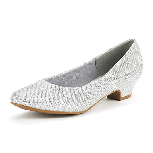 DREAM PAIRS Women's Mila Silver Glitter Low Chunky Heel Pump Shoes Size 5.5 M US