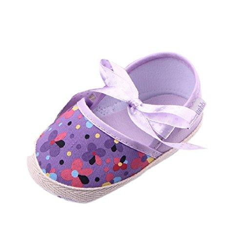 Baby Ersten Walker Kleinkind Schuhe, Culater Niedlich Floral Kleinkind Weiche Sohle Schuhe (13CM, Weiß) Lila