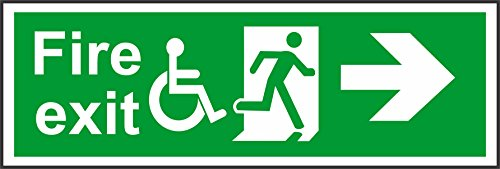 INDIGOS UG - Sticker - Safety - Warning - Emergency Sign Fire exit Directional Right Arrow with Disabled Symbol Safety Sign 300mm x 100mm - Decal for Office/Company/School/Hotel (Arrow Right Directional)