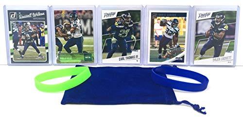 Seattle Seahawks Cards: Russell Wilson, Chris Carson, Doug Baldwin, Tyler Lockett, Earl Thomas III, ASSORTED Football Trading Card and Wristbands Bundle