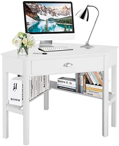 Tangkula Corner Desk, Corner Computer Desk, Wood Compact Home Office Desk, Laptop PC Table Writing Study Table, Workstation with Storage Drawer Shelves