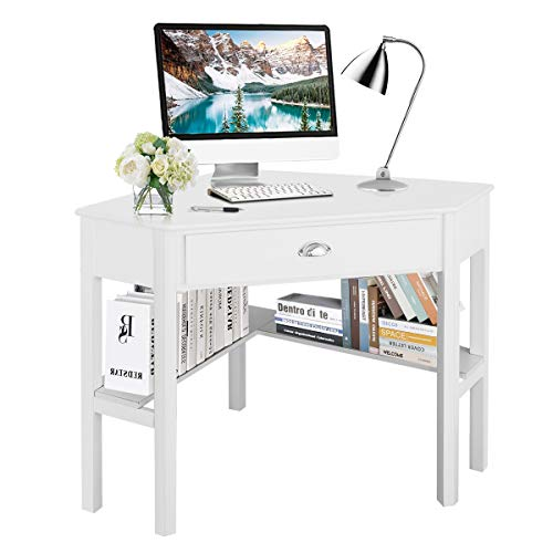 (Tangkula Corner Desk, Corner Computer Desk, Wood Compact Home Office Desk, Laptop PC Table Writing Study Table, Workstation with Storage Drawer & Shelves)