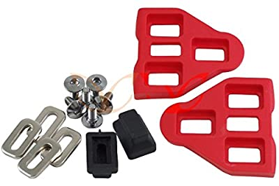 1 Pair Red LOOK Delta Compatible Pedal Cleats with Screws Washers, CarbonCycles