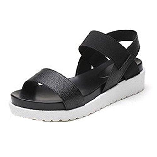 Gotd Women Peep-toe Low Heel Flip Flop Wedge Sandals Slide Platform Thongs Slipper Strappy Soft Girl Indoor Outdoor Beach Shoes (US:6.5, Black)