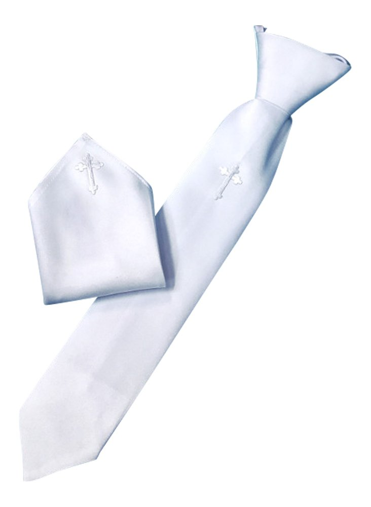 Boy's First Communion White Satin Tie and Hanky Set with Cross (White Satin)