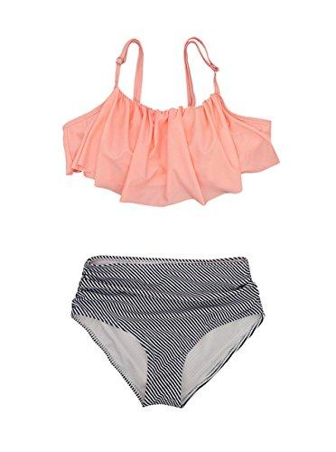 Women Girls 2 Piece Swimsuits High Waisted Bathing Suits Falbala Bikini Sets  Large  Pink