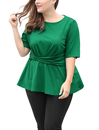 uxcell Women's Plus Size Short Sleeves Twisted Knot Front Peplum Top 2X Green