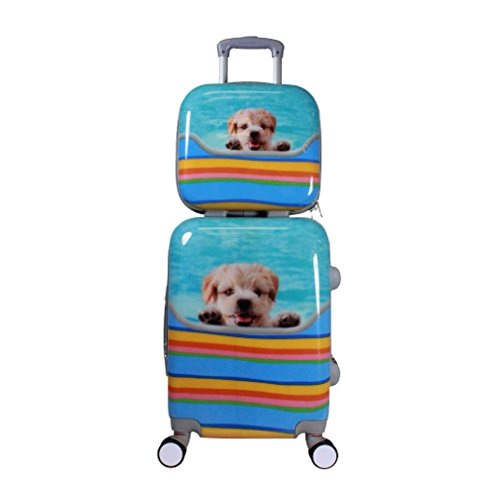2 Piece Happy Playful Dog Pattern Hardside Lightweight Spinner Luggage Suitcases, Fashionable Tropical Geometric Stripes Themed, Expandable, Multi Compartment, Modern Handle Travel Cases, Blue, Yellow by S & E