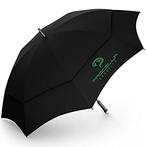 Golf Umbrella by Procella Umbrella 62 Inch Large Auto Open Rain & Wind Resistant Tested by Skydivers (Black)
