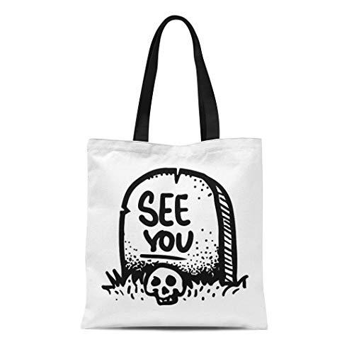 Semtomn Canvas Tote Bag Shoulder Bags Etched Engraved Dark Humor Jokes Contemporary Street Work Sketch Women's Handle Shoulder Tote Shopper Handbag -