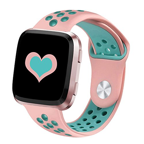 DEKER Bands Compatible with Fitbit Versa/Versa Lite/SE Smartwatch Bands, Breathable Soft Silicone Adjustable Replacement Bracelet Strap Wristbands (Small 5.5-6.7, Pink/Teal)