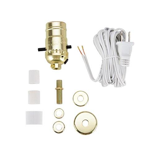 Aspen Creative 21017, Make-A-Bottle Lamp Kit in Polished Brass, 1 Pack