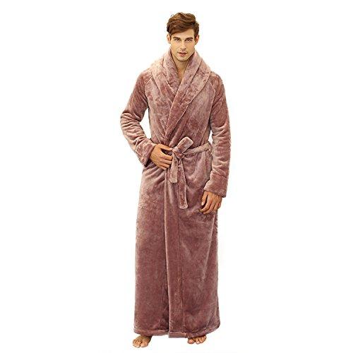 7 VEILS Women Flannel Ultra Long Floor Length Bathrobes-Apricot-M
