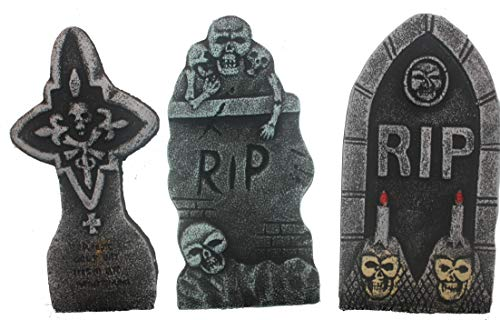 Bauer Pacific Set of 3 Realistic 14'' Asst. Halloween Foam Tombstones, Props, Graveyards, Haunted House, Yard Decorations and Accessories by Bauer Pacific
