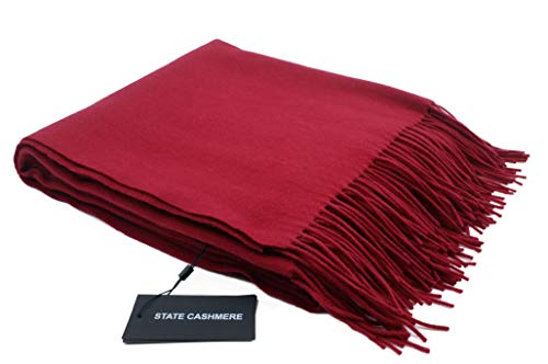 State Cashmere 100% Pure Cashmere Fringe Throw Blanket, 60 inch x 50 inch, Ultimate Soft and Cozy (No Box)