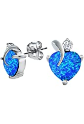 Star K Love Heart Earrings with 7mm Heart Shape Stone