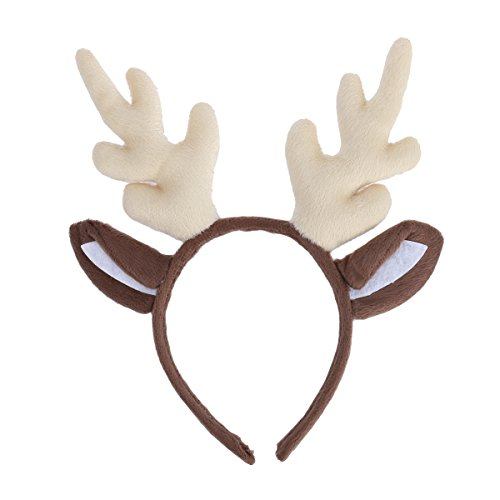 Child Deer Costumes (Tinksky Reindeer Antler Hair Hoop Christmas Kids Headband Headwear for Children Christmas Costume Party birthday or Xmas Thanksgiving Day gift (Milk White))