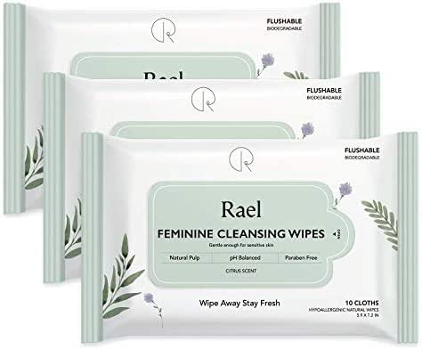Rael Feminine Wet Wipes with Natural Ingredients - Flushable, Travel Size, Biodegradable, Praben Free, pH-Balanced, Daily use, Gentle & Safe on The Skin for Women Intimate (3Pack)