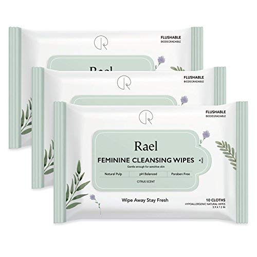 Rael Feminine Wet Wipes with Natural Ingredients - Flushable, Travel Size, Unscented, Biodegradable, Praben Free, pH-Balanced, Daily use, Gentle & Safe on The Skin for Women Intimate (3Pack) ()