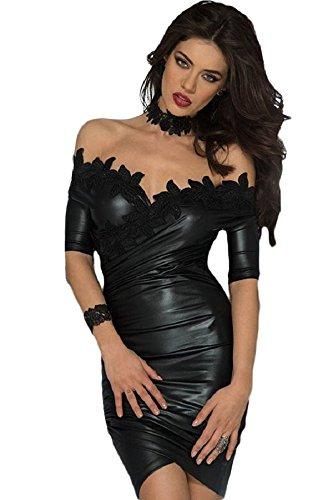Neue Damen Schwarz Wet Look Schulterfrei Figurbetont Mini Kleid Club Wear Abend Party Kleid Größe passt UK S 8–10