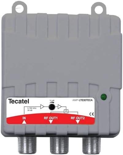 Amplificador de vivienda con 2 salidas 47-790 MHz de 30 dB con conector F